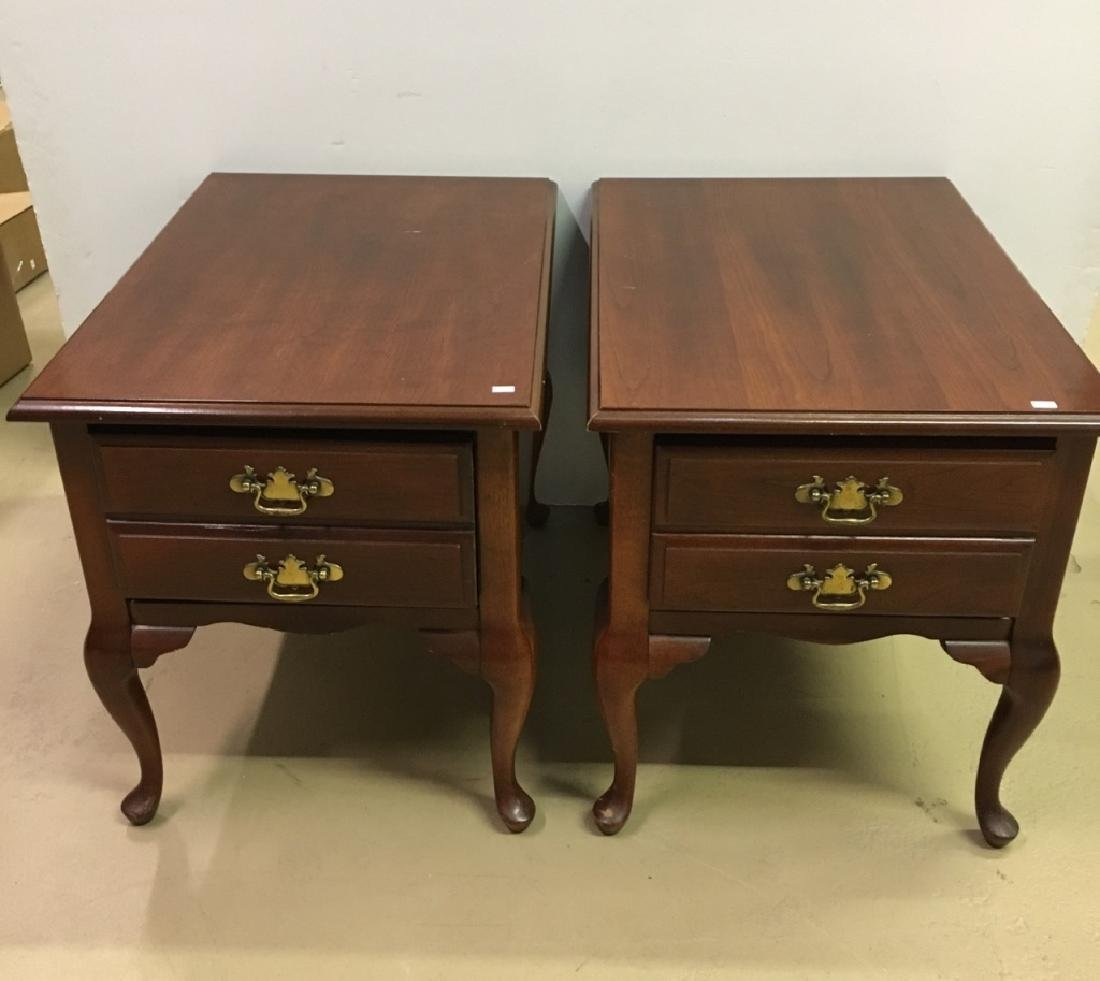 2 BASSETT FURNITURE QUEEN ANNE STYLE END TABLES