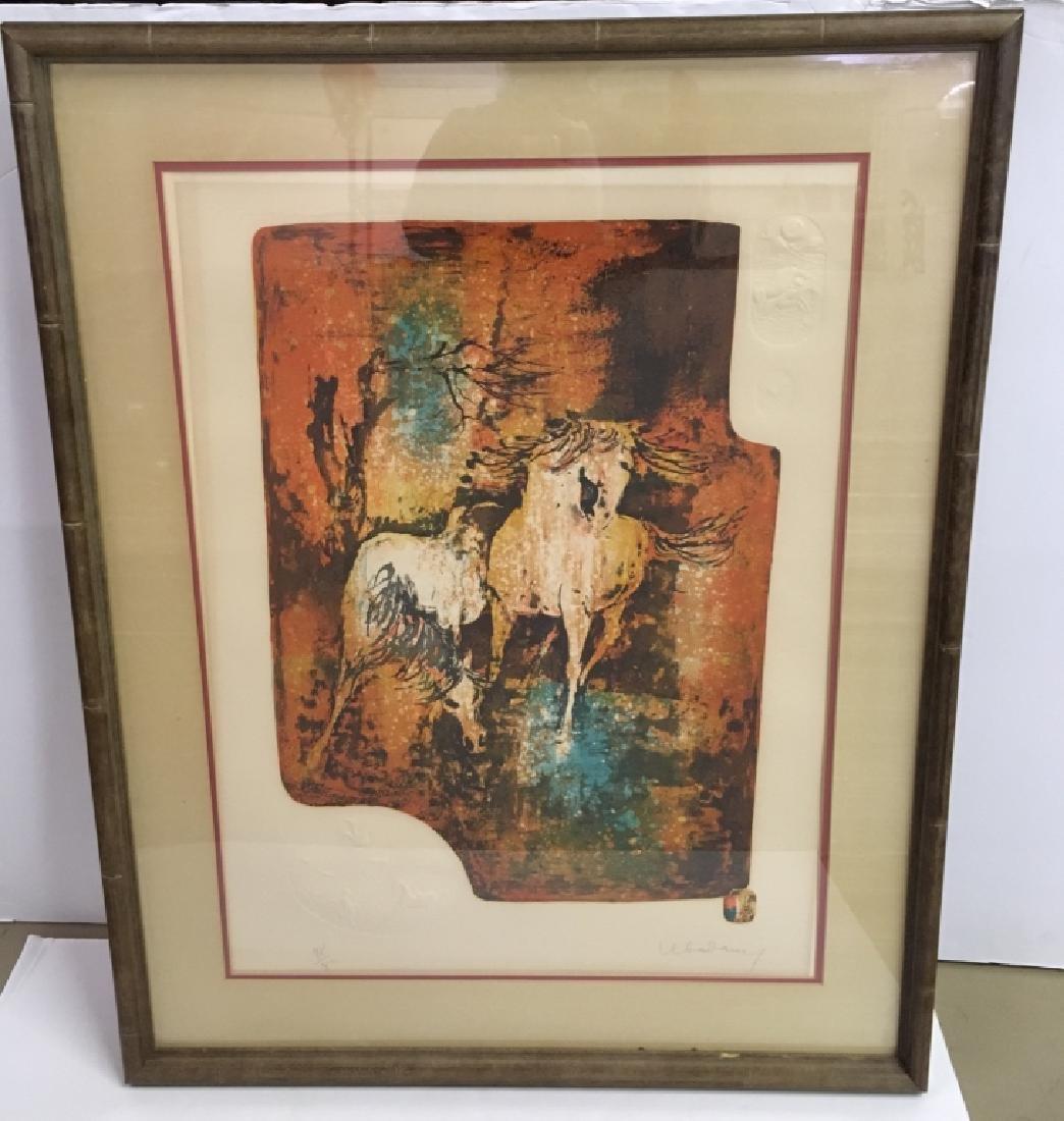 "FRAMED ARTWORK BY LEBADANG ""HORSES IN THE WIND"""