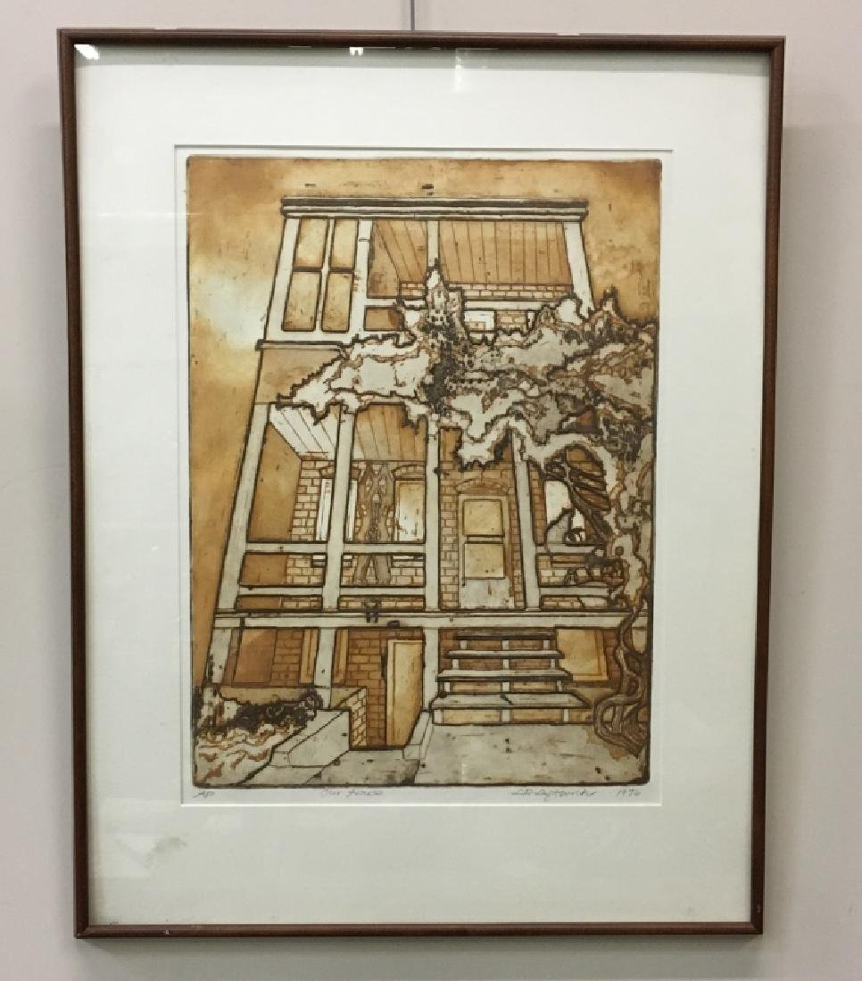 FRAMED ENGRAVING BY L. R. LEFTWICH DATED 1976