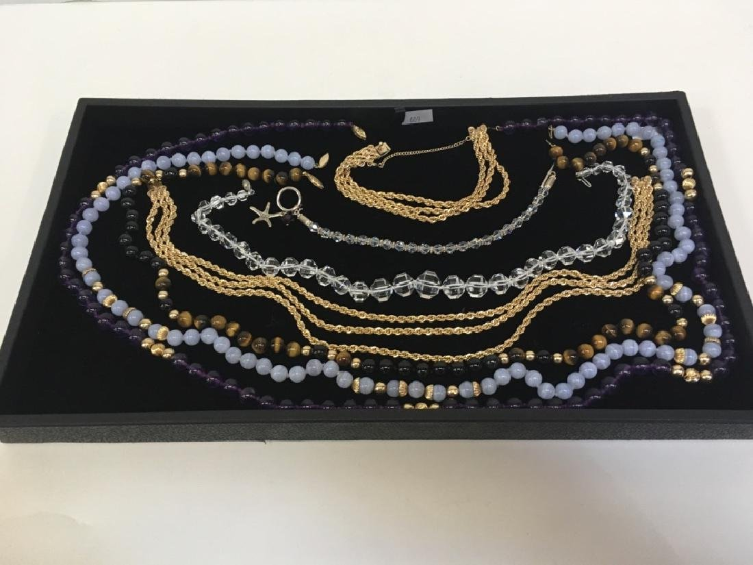 7 NECKLACES & BRACELETS - CRYSTAL, BEAD & ROPE