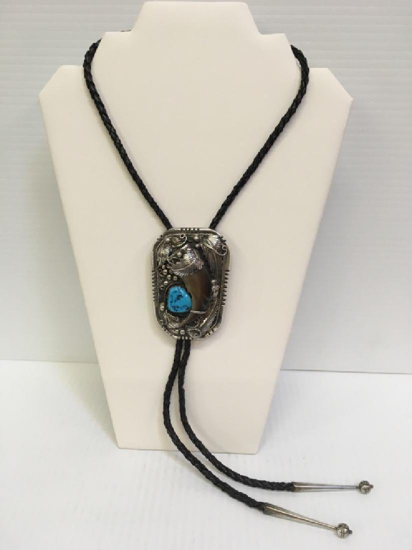 STERLING NATIVE AMERICAN BOLO NECKLACE