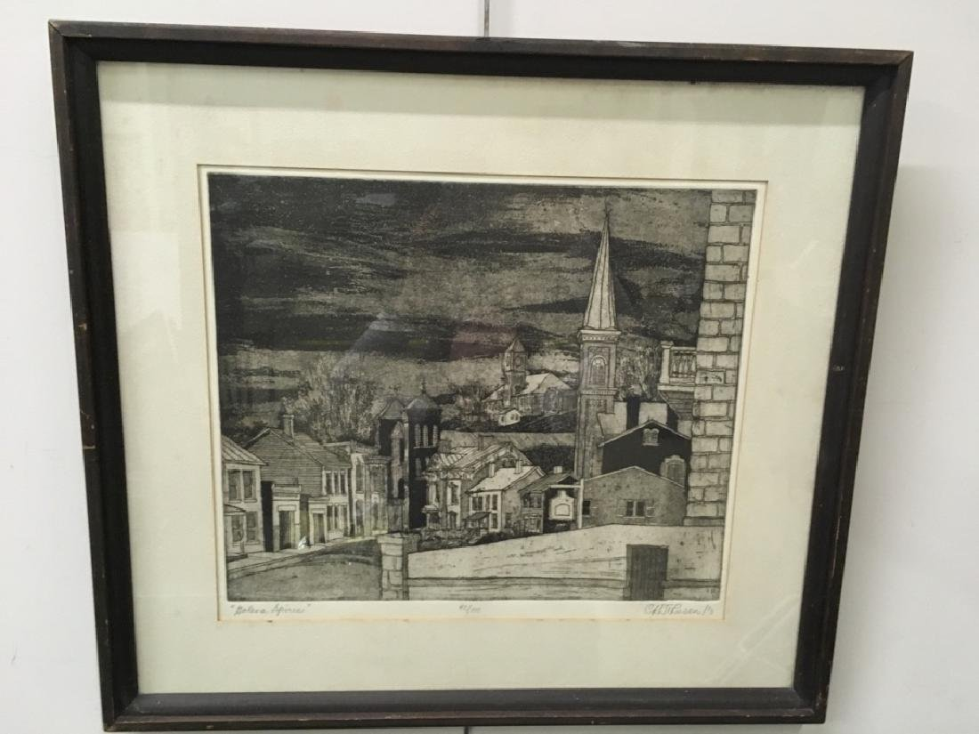"FRAMED ENGRAVING - CARL JOHNSON ""GALENA SPIRES"""