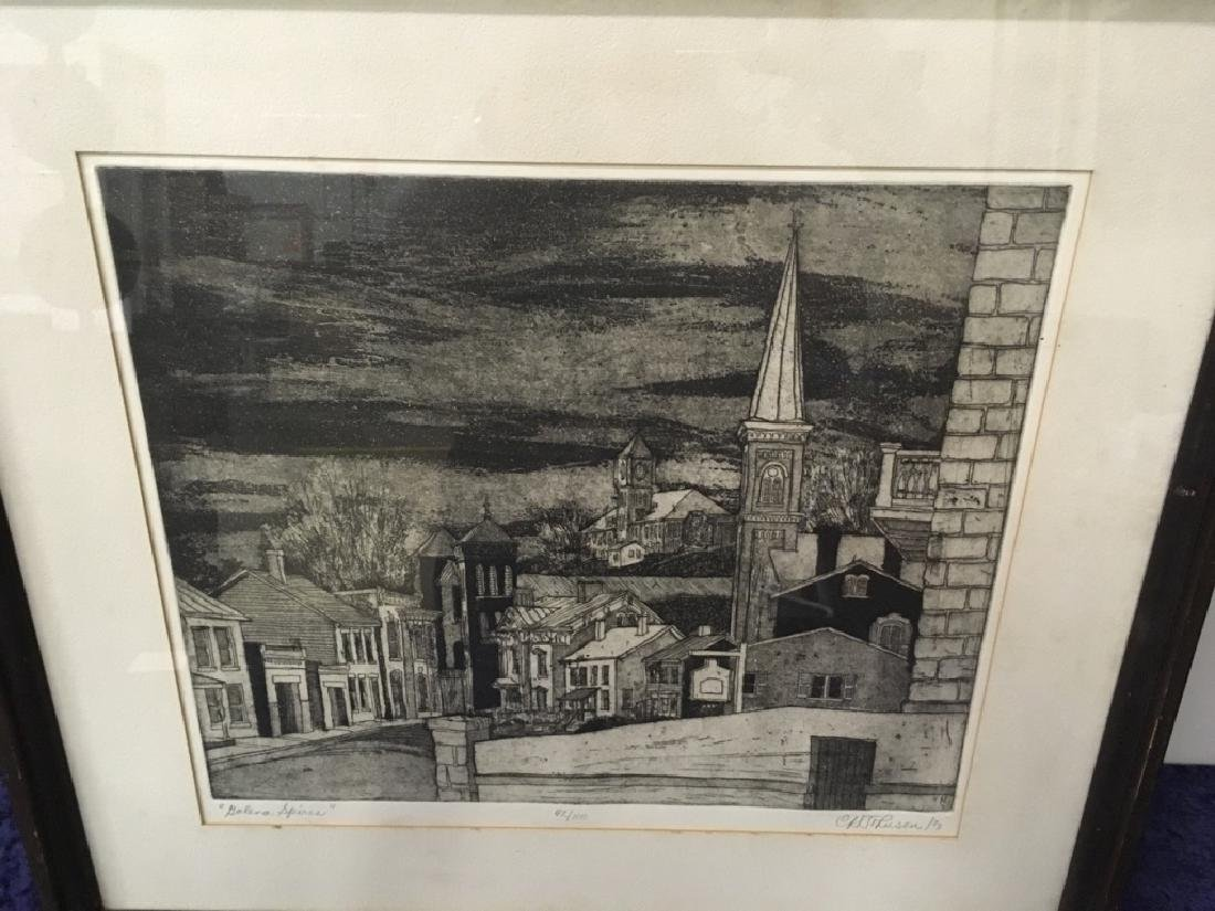 "FRAMED ENGRAVING - CARL JOHNSON ""GALENA SPIRES"" - 6"