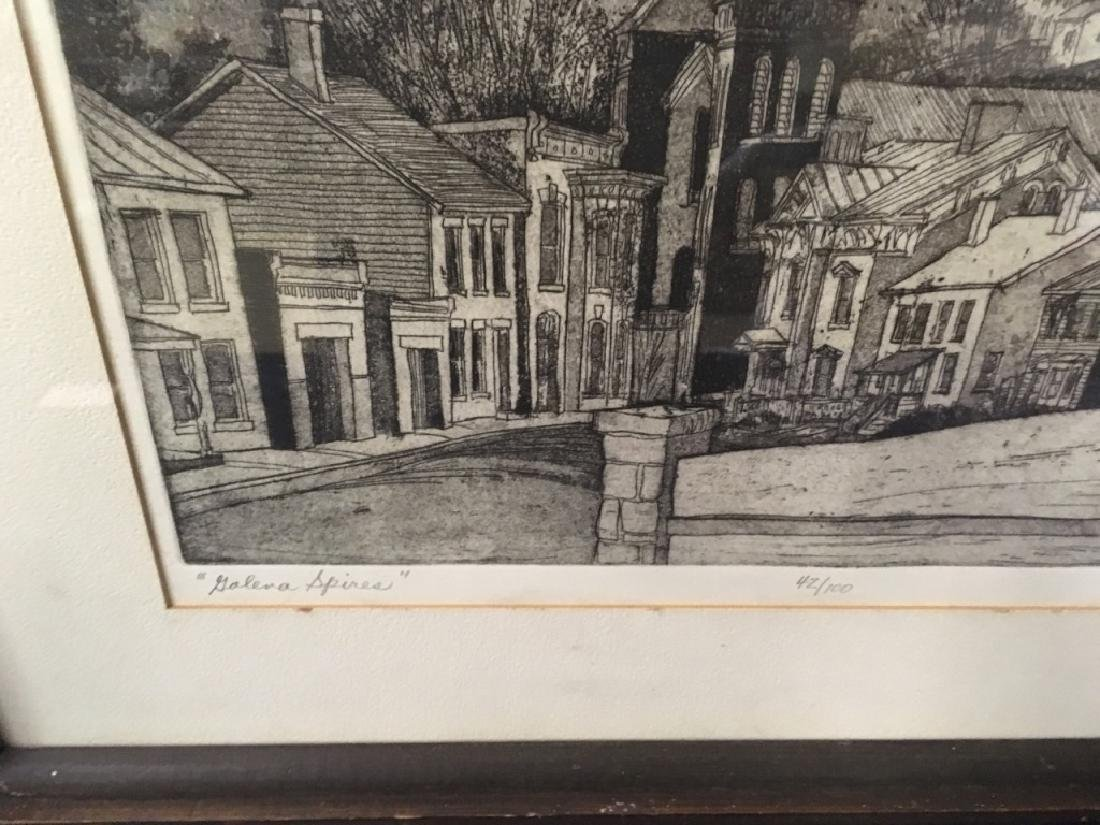 "FRAMED ENGRAVING - CARL JOHNSON ""GALENA SPIRES"" - 7"