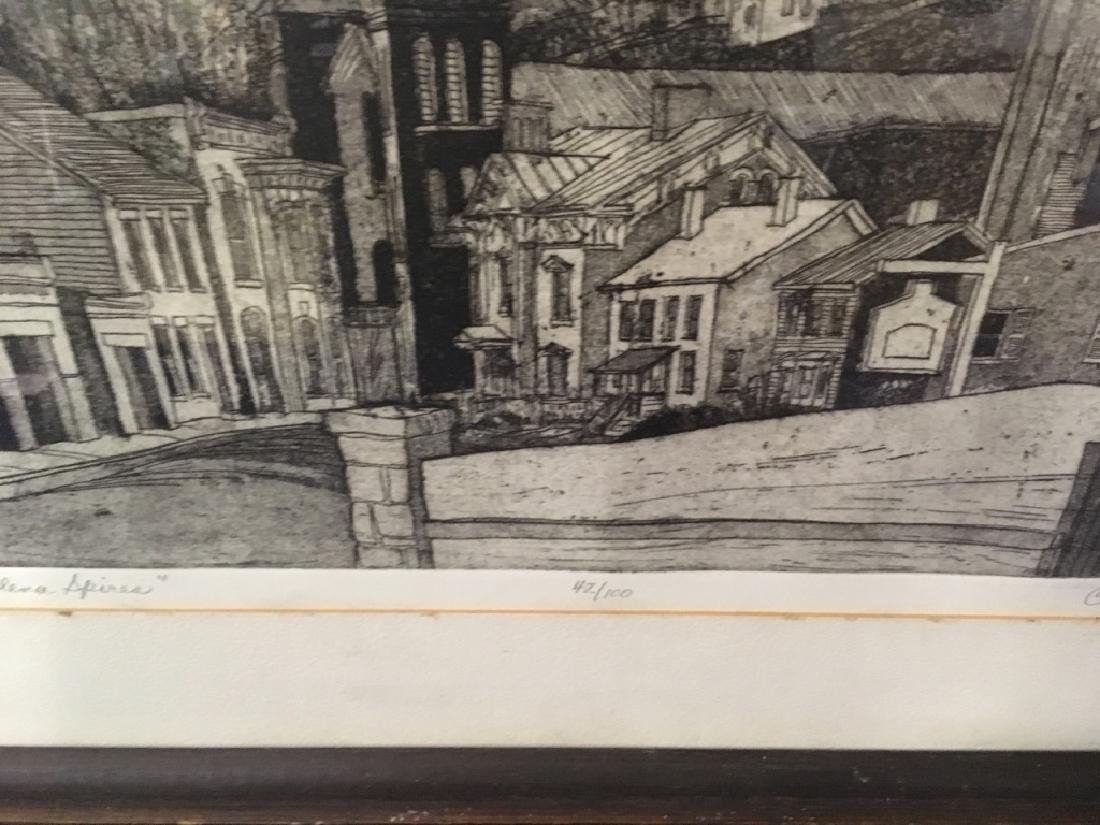 "FRAMED ENGRAVING - CARL JOHNSON ""GALENA SPIRES"" - 8"