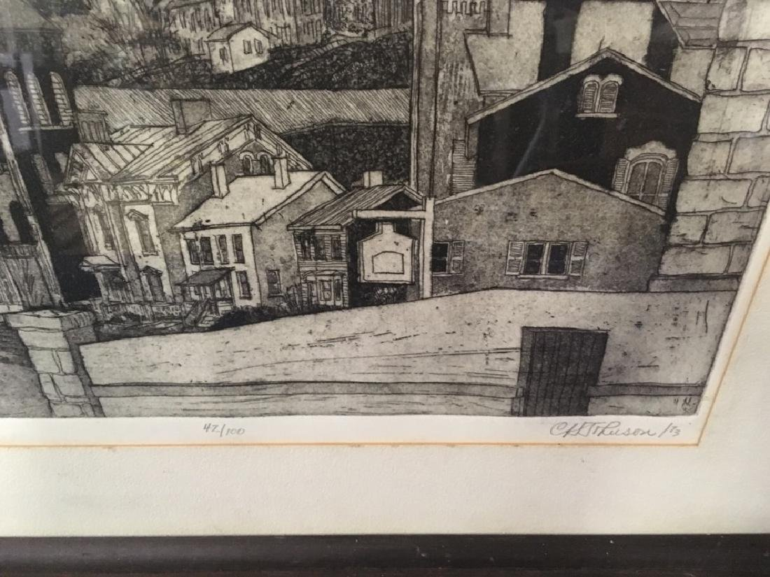 "FRAMED ENGRAVING - CARL JOHNSON ""GALENA SPIRES"" - 9"
