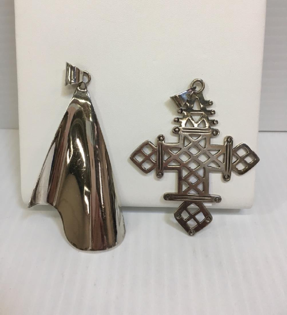 TWO MEXICAN SILVER PIN / PENDANTS
