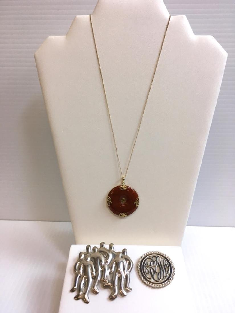 3 PCS JEWELRY - PINS & JADEITE DISK NECKLACE