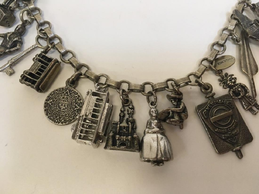 STERLING CHARM BRACELET WITH 15 STERLING CHARMS - 4