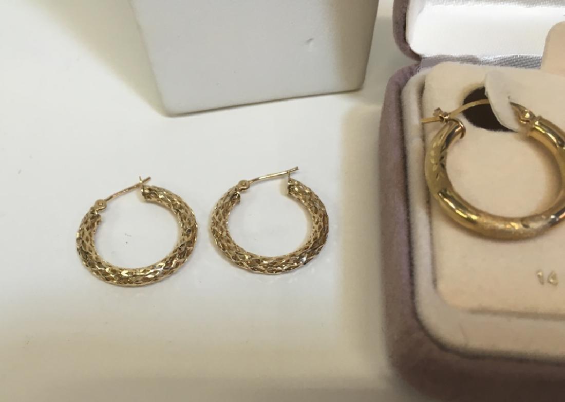3 PRS OF GOLD EARRINGS - 2 YG 14K & 1 YG/WG 10K - 3