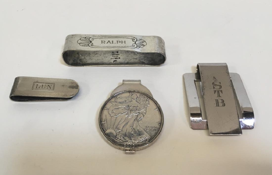 4 PCS OF STERLING - MONEY CLIPS & NAPKIN RING