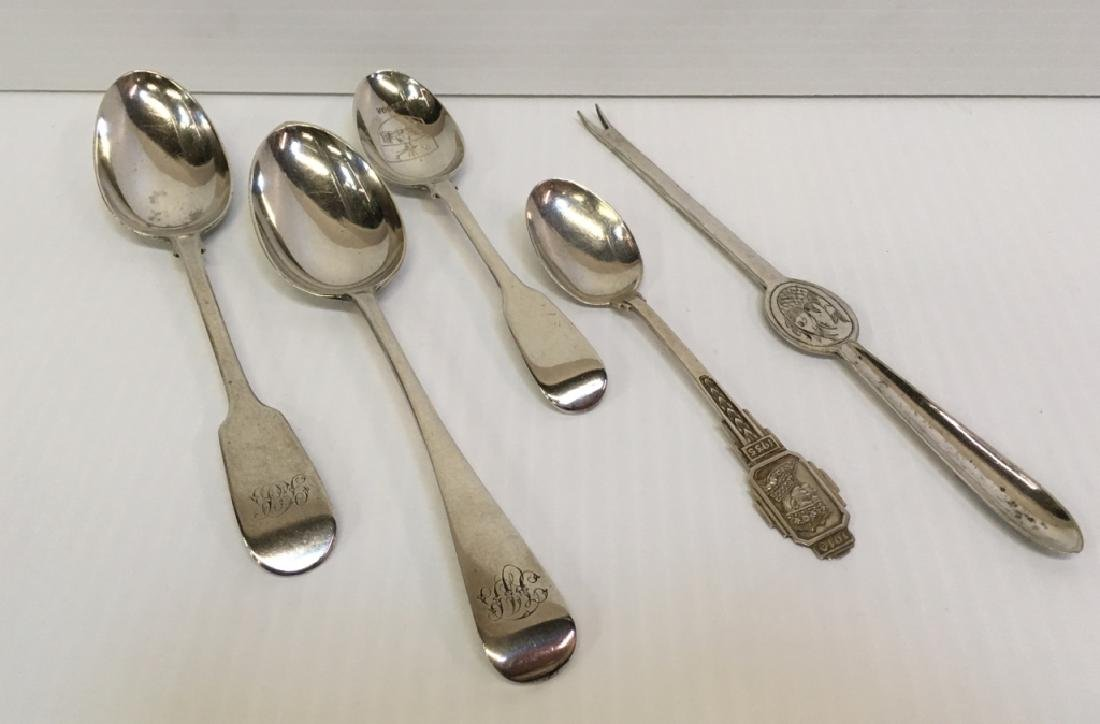 5 PCS OF BRITISH FLATWARE - 4 STERLING & 1 PLATED