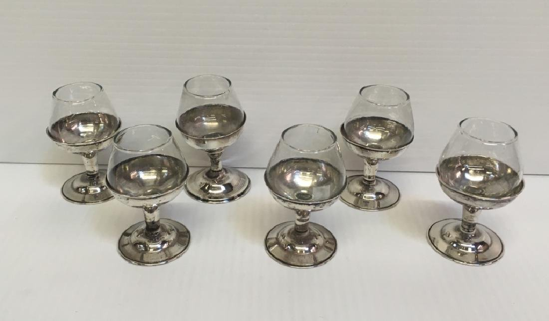 SET OF 6 MEXICAN SILVER GLASS & STERLING CORDIALS