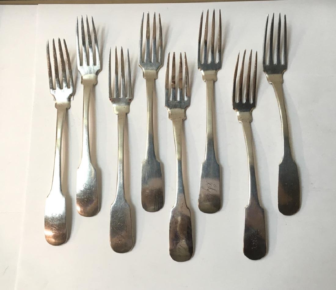 EIGHT COIN SILVER FORKS ENGRAVED DATE OF 1830