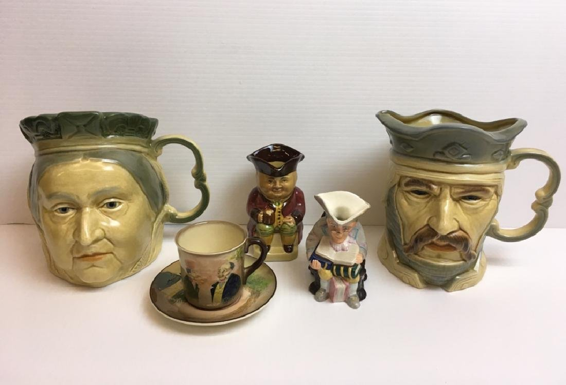 5 PCS ENGLISH PORCELAIN - TOBY JUGS, CUP & SAUCER