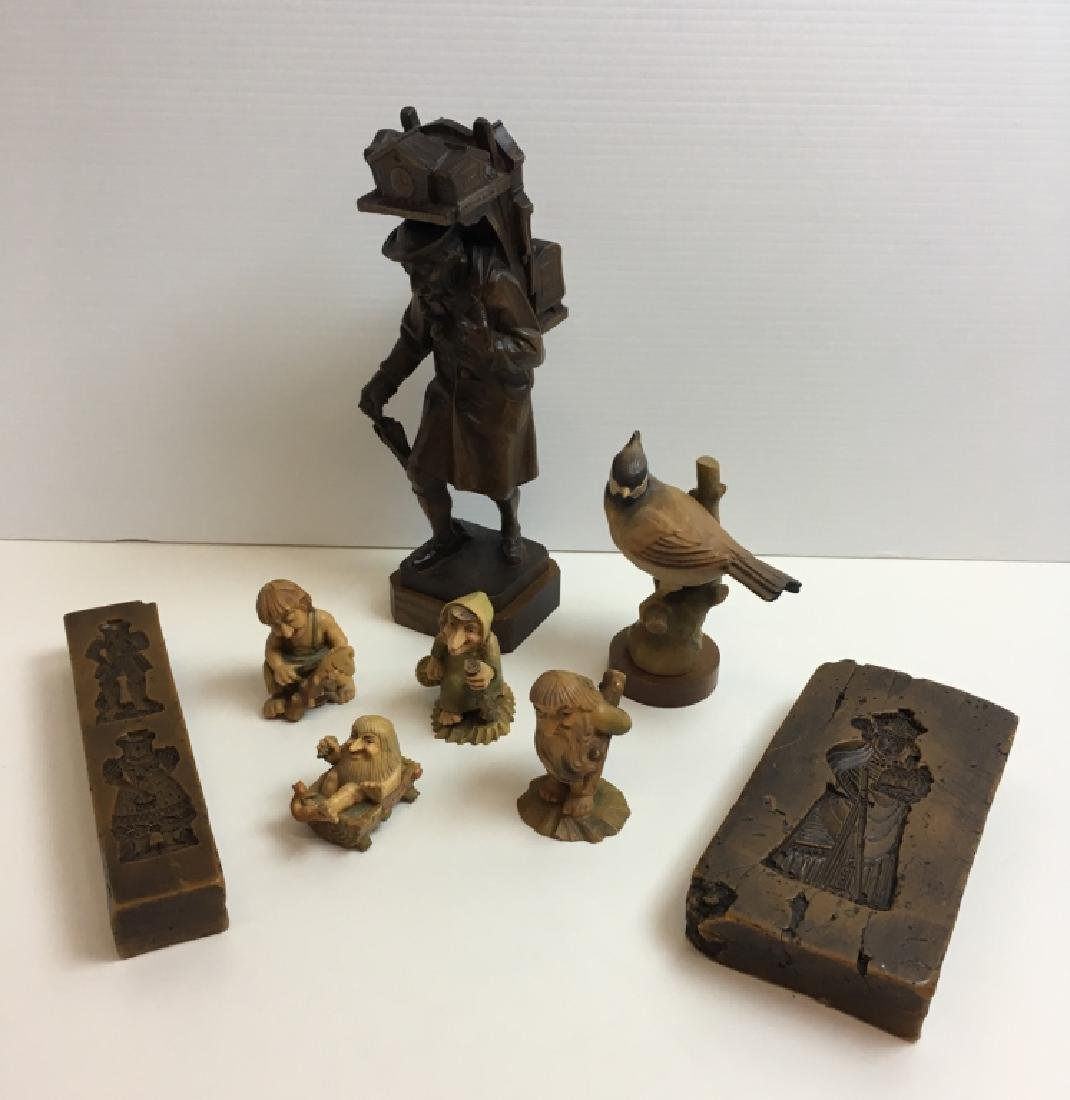 CARVED WOOD ANRI FIGURES & WAX MOLD PLAQUES
