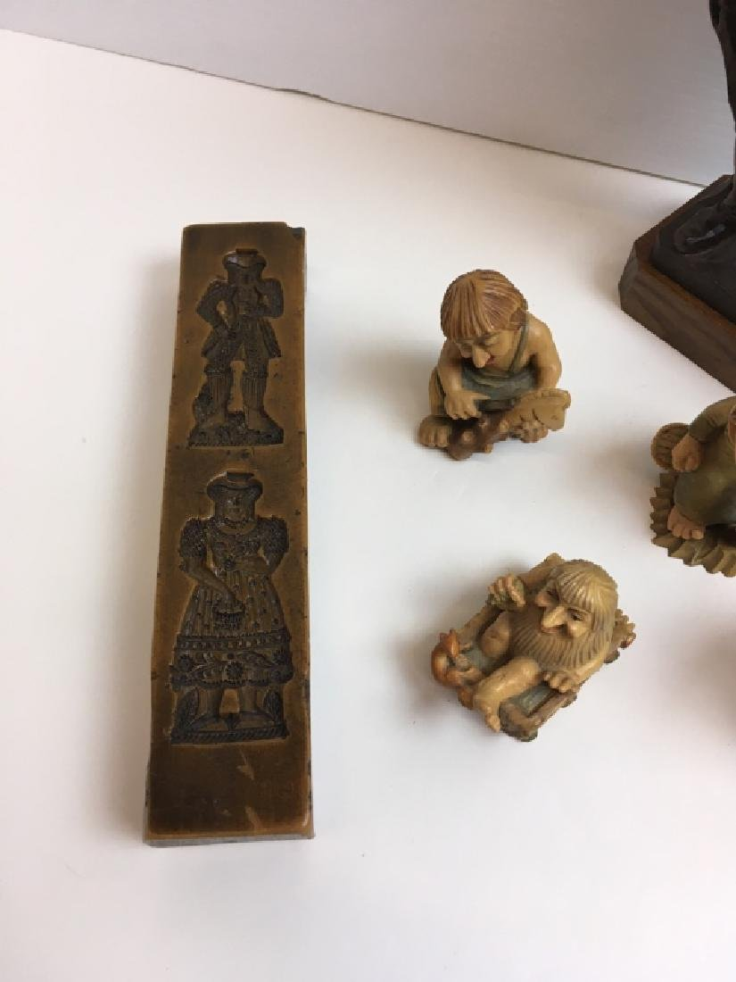 CARVED WOOD ANRI FIGURES & WAX MOLD PLAQUES - 5