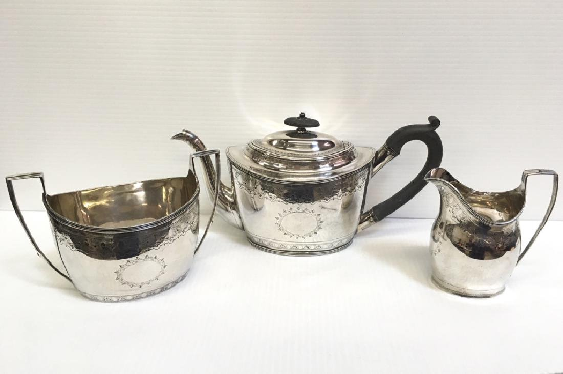 3 PC STERLING TEA SERVICE - LONDON 1799-1800