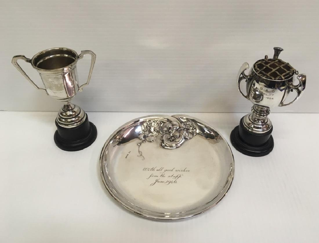 VINTAGE STERLING & SILVER PLATE TROPHIES & TRAY