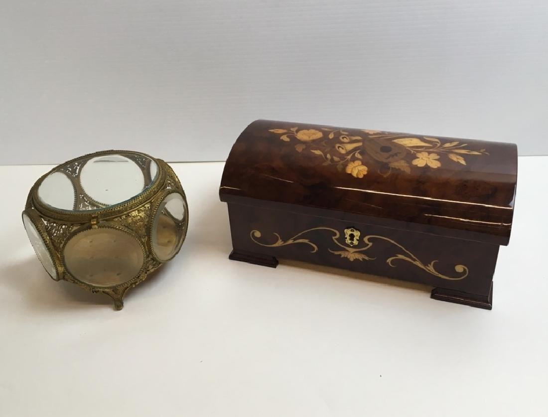 ITALIAN MUSIC BOX & VINTAGE GILT METAL JEWELRY BOX