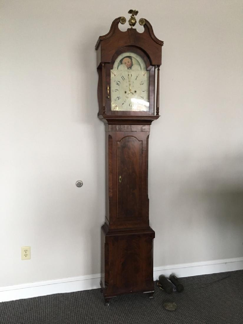 19TH C MAHOGANY TALL CASE CLOCK