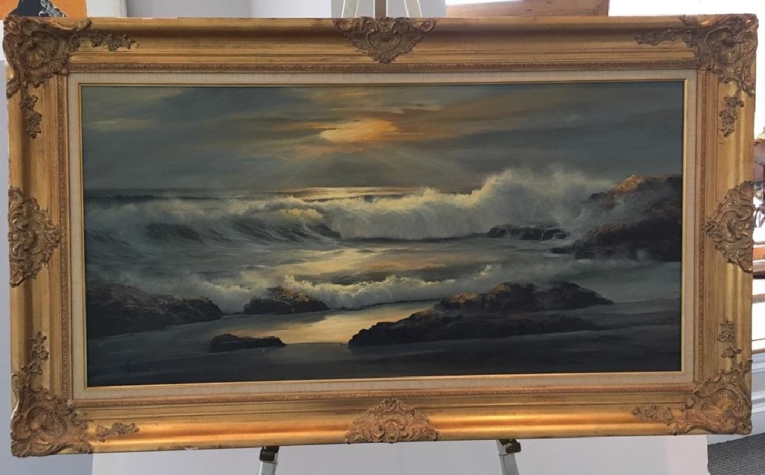 LARGE OIL ON CANVAS SEASCAPE BY WILLIAM HOFFMAN