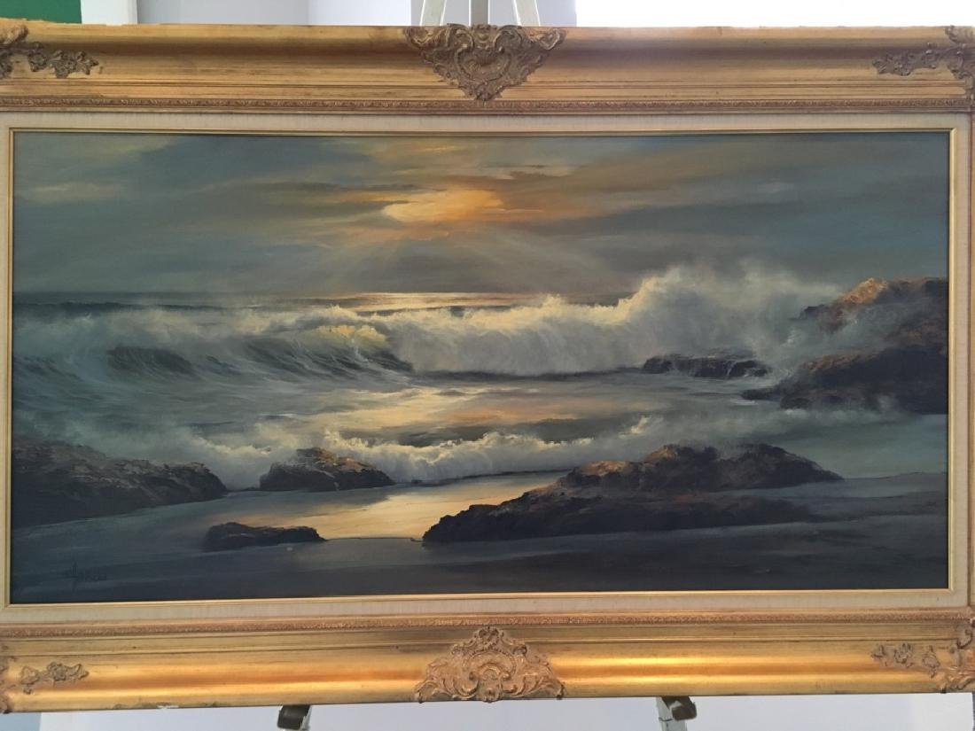 LARGE OIL ON CANVAS SEASCAPE BY WILLIAM HOFFMAN - 2