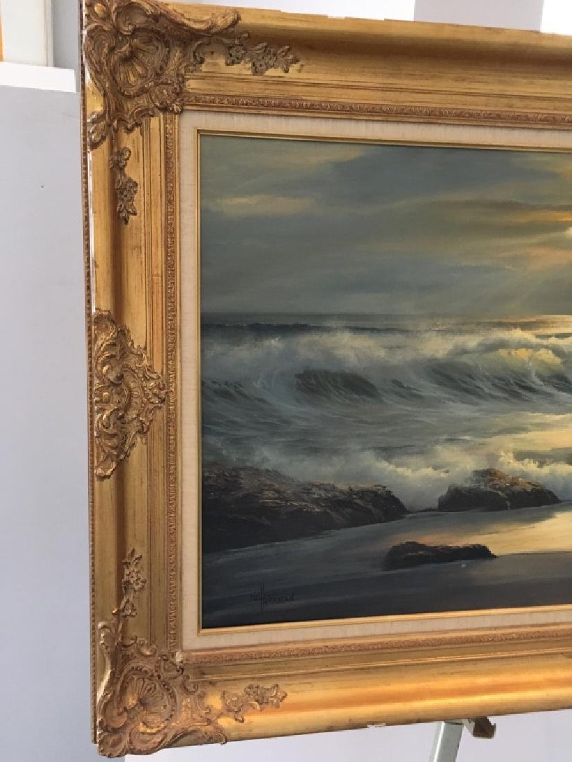 LARGE OIL ON CANVAS SEASCAPE BY WILLIAM HOFFMAN - 3