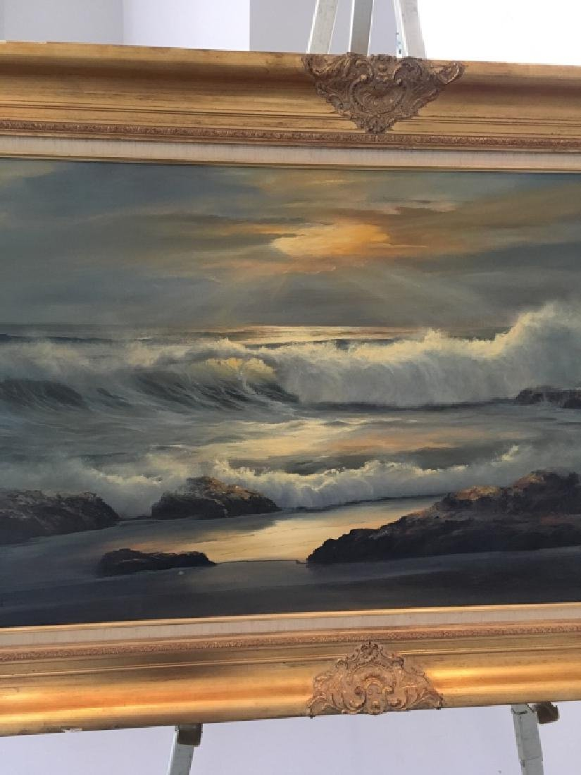LARGE OIL ON CANVAS SEASCAPE BY WILLIAM HOFFMAN - 4