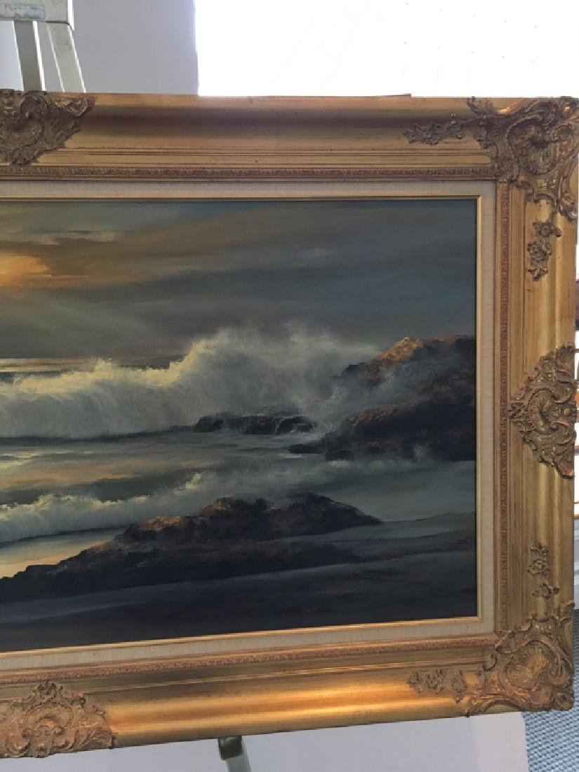 LARGE OIL ON CANVAS SEASCAPE BY WILLIAM HOFFMAN - 5