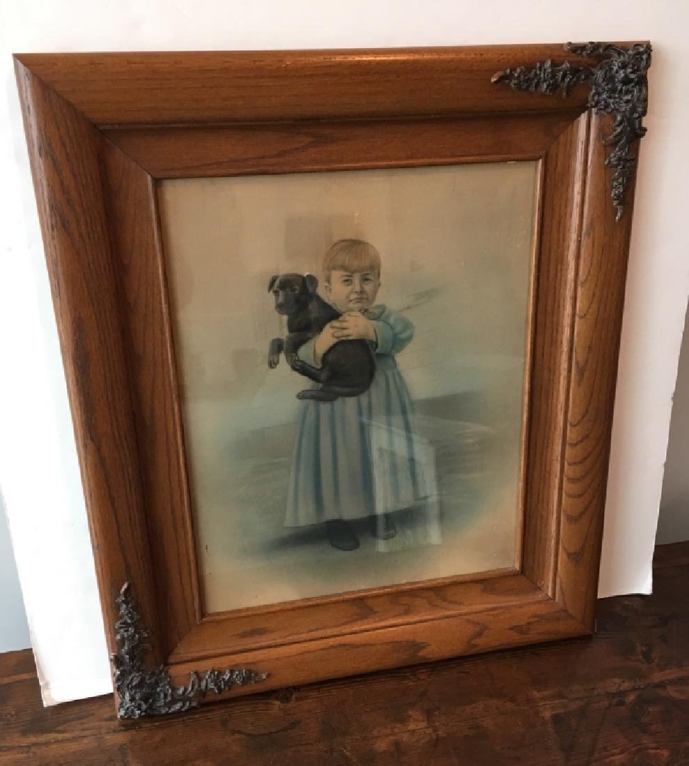 CA. 1900 OAK FRAMED PASTEL OF GIRL & DOG