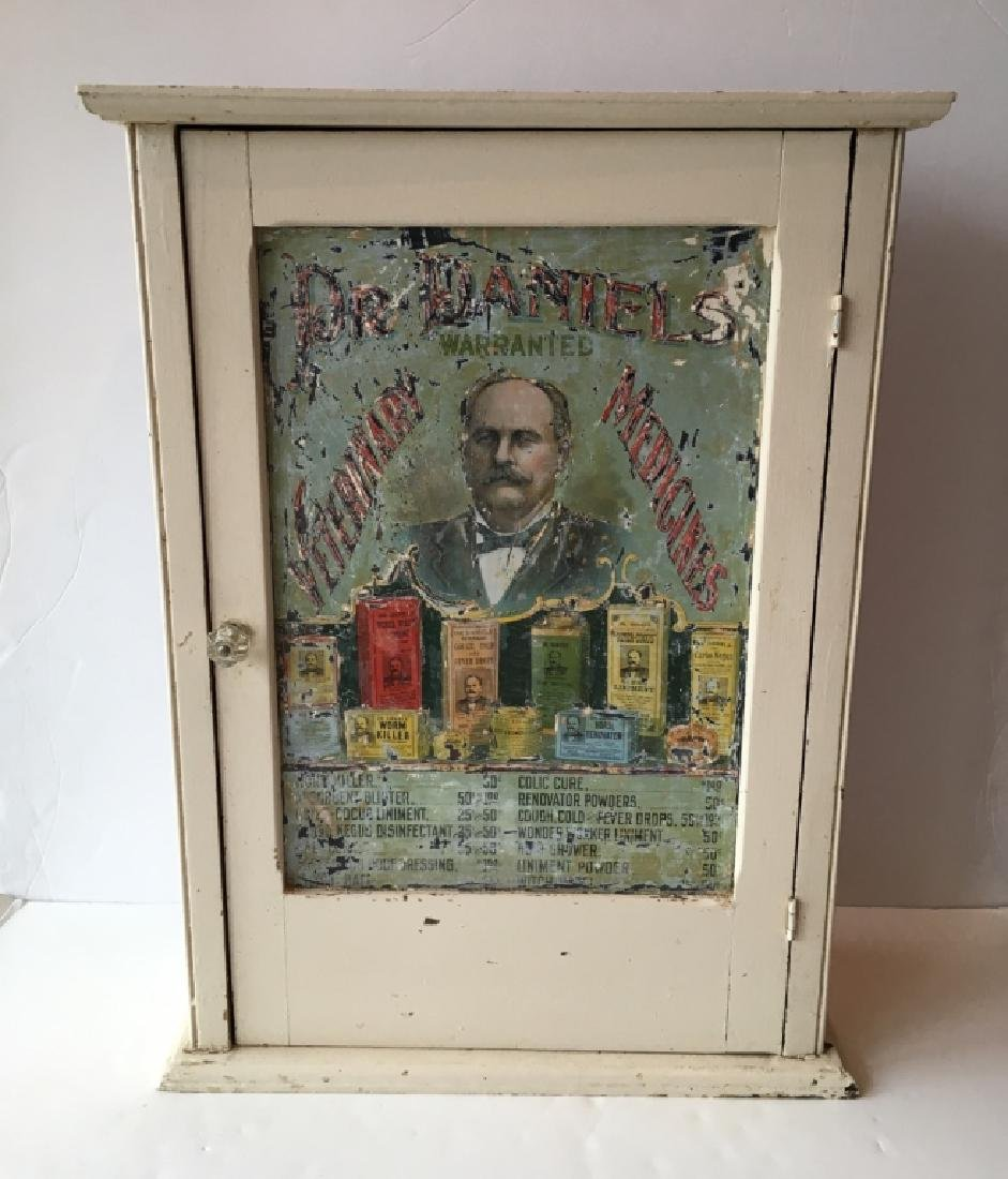ANTIQUE DR. DANIELS' VETERINARY MEDICINES CABINET