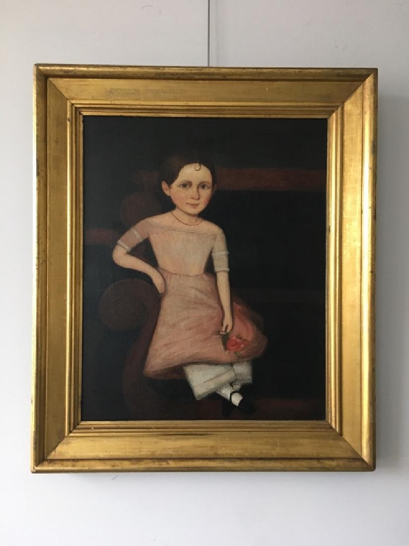 ANTIQUE PRIMITIVE OIL ON CANVAS OF GIRL