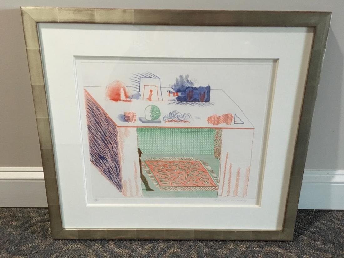 FRAMED LITHOGRAPH BY DAVID HOCKNEY BLUE GUITAR