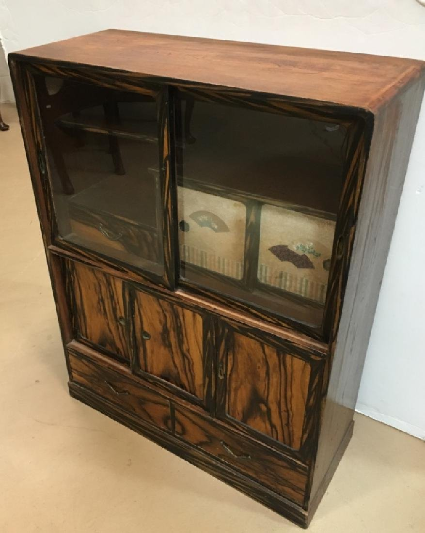 SMALL ASIAN SLIDING DOOR DISPLAY CABINET
