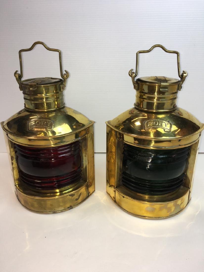 2 BRASS NAUTICAL PORT LANTERNS - RED, GREEN GLASS