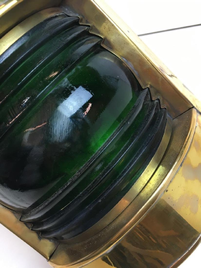2 BRASS NAUTICAL PORT LANTERNS - RED, GREEN GLASS - 3