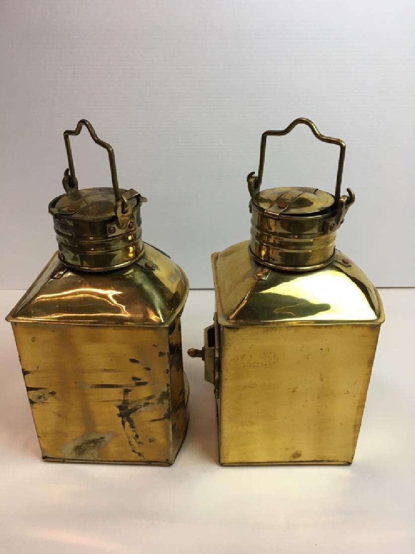 2 BRASS NAUTICAL PORT LANTERNS - RED, GREEN GLASS - 7