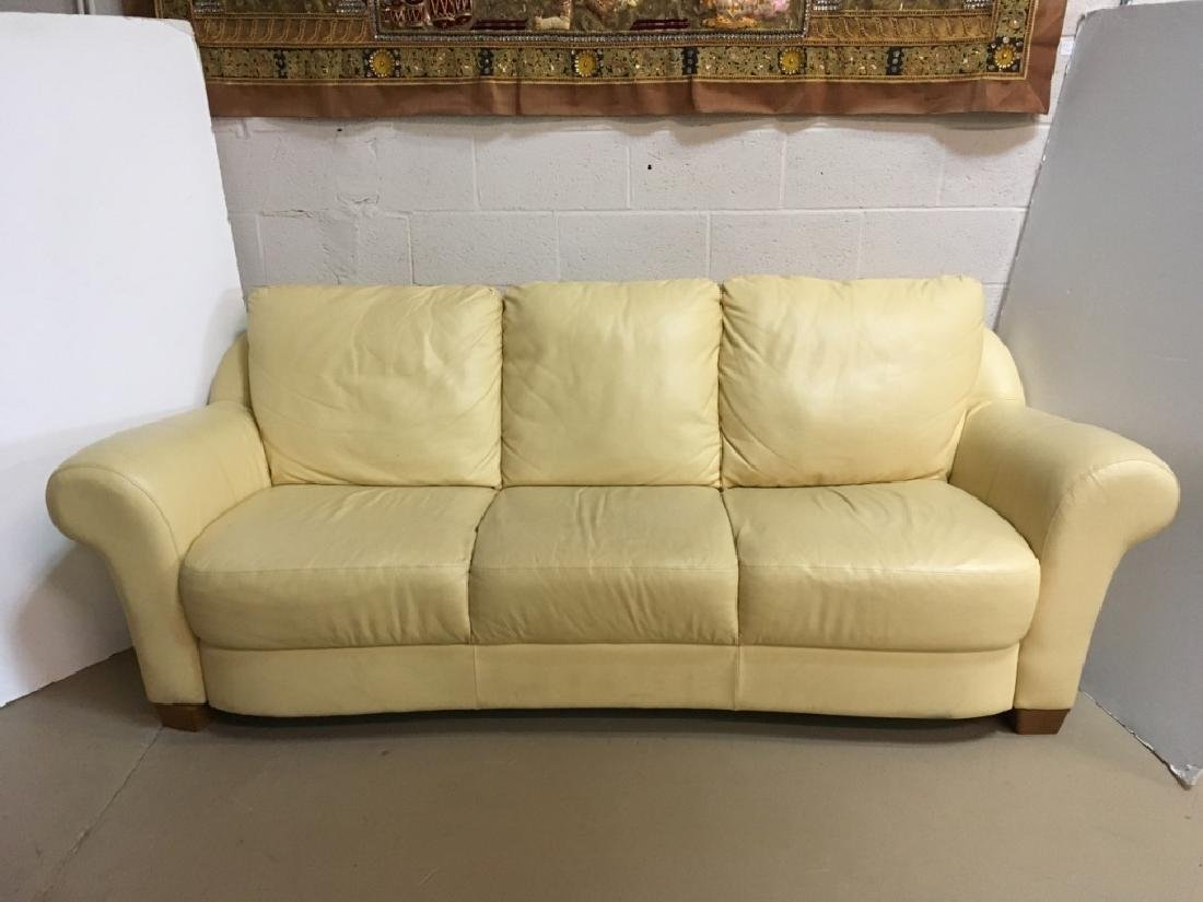 NATUZZI BUTTER CREAM YELLOW LEATHER SOFA
