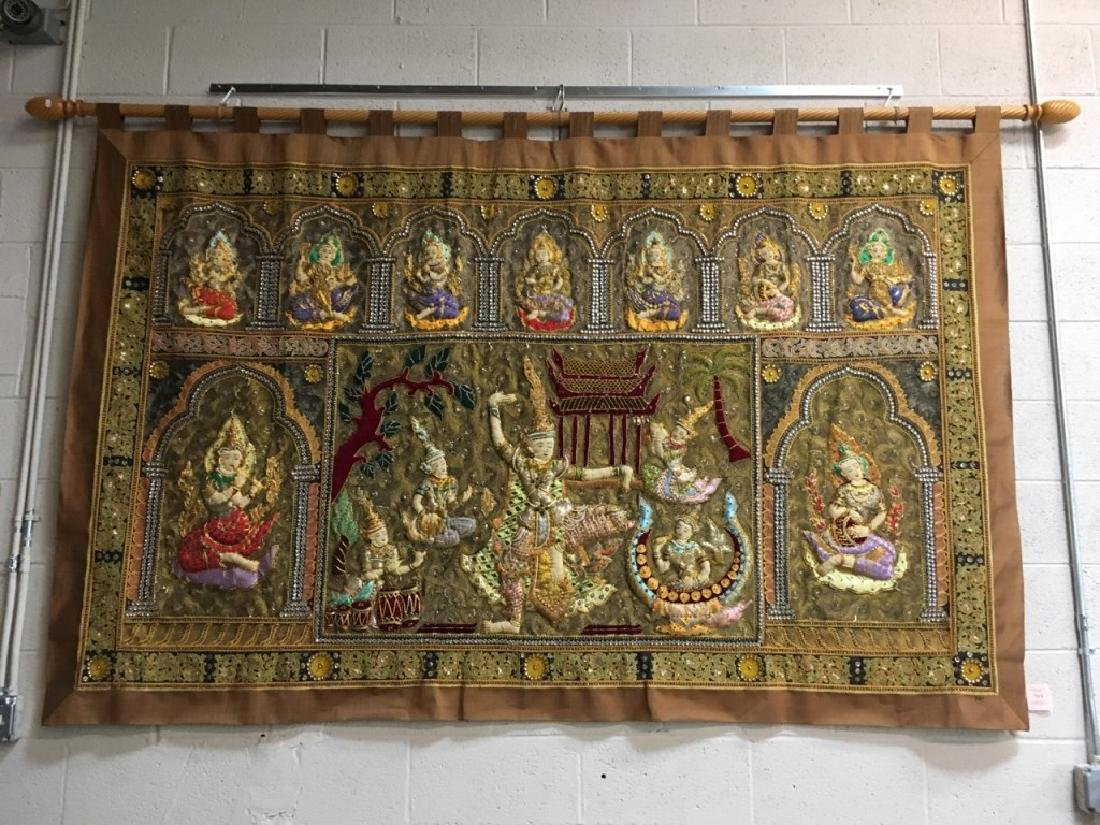 LARGE HAND EMBROIDERED & BEADED THAI TAPESTRY