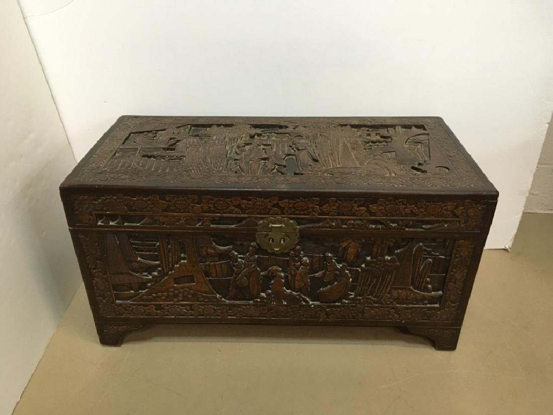 HEAVILY CARVED CHINESE TRUNK