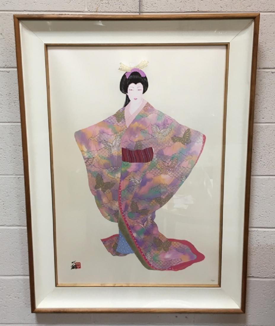 FRAMED LITHOGRAPH BY HIROSHI OTSUKA - LADY MEIKO