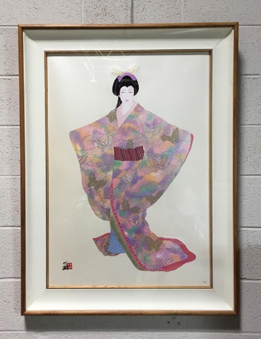 FRAMED LITHOGRAPH BY HIROSHI OTSUKA - LADY MEIKO - 2