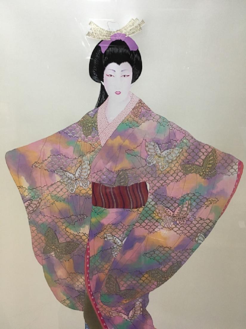 FRAMED LITHOGRAPH BY HIROSHI OTSUKA - LADY MEIKO - 6