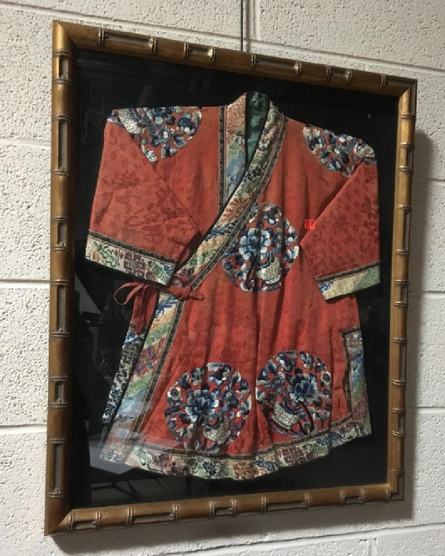 FRAMED ANTIQUE CHINESE SILK EMBROIDERY ROBE