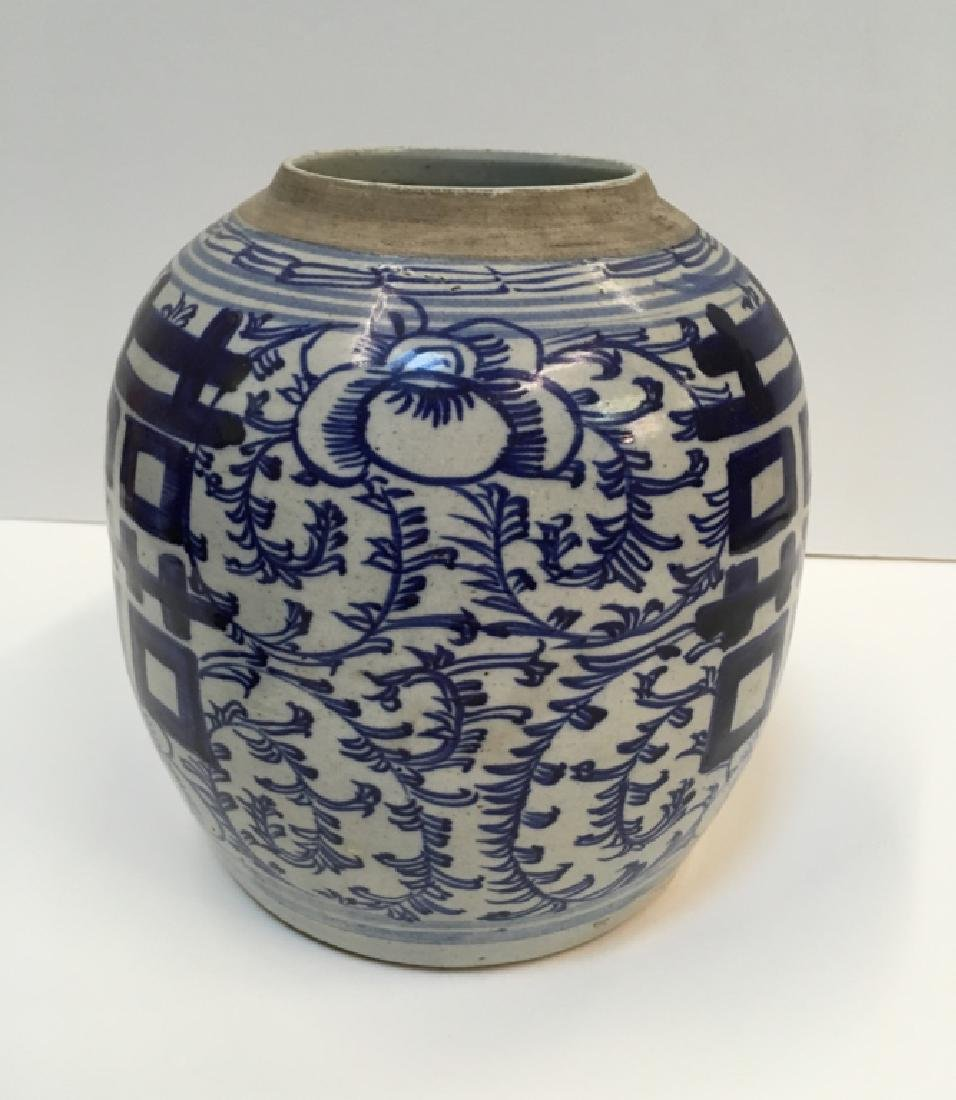 CHINESE 19TH C BLUE & WHITE GINGER JAR - 3