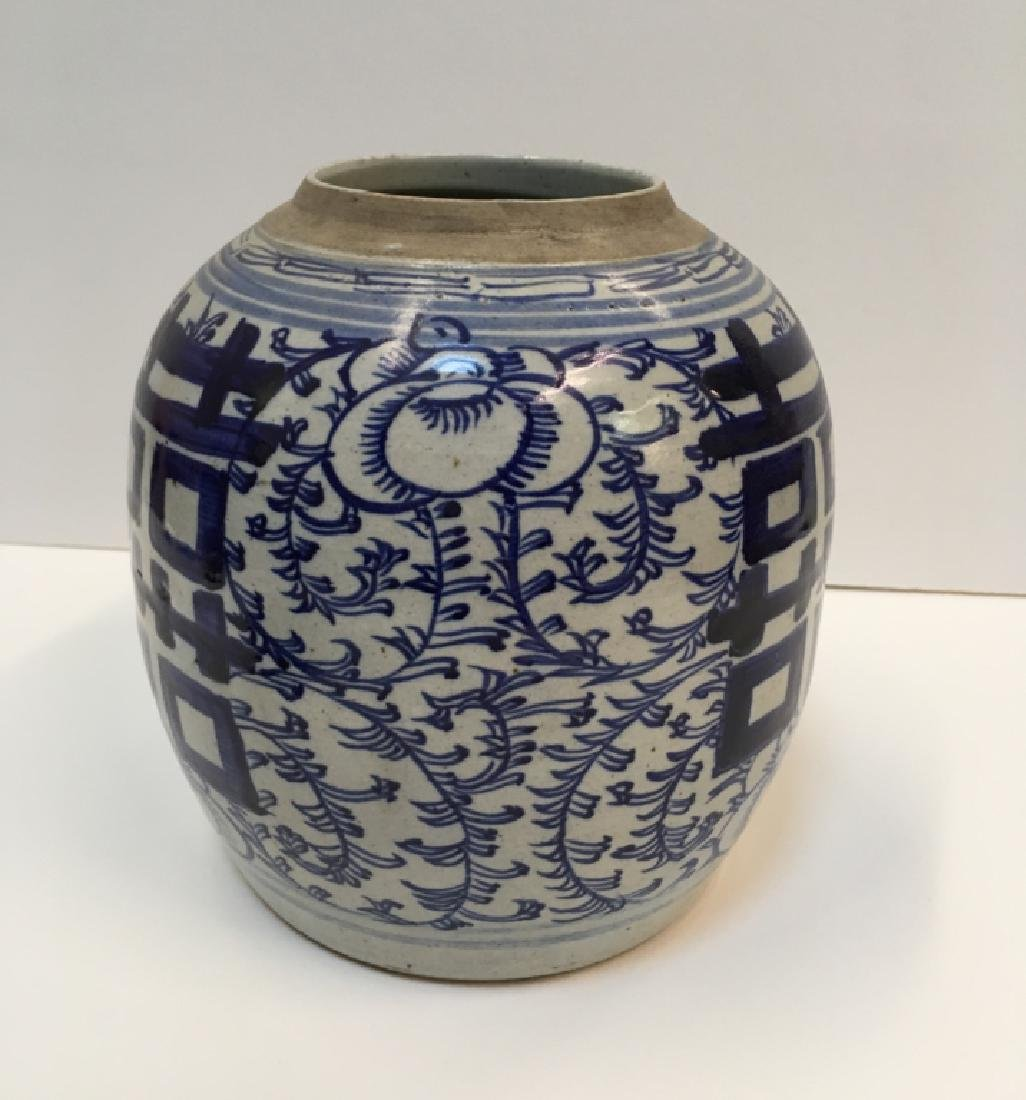 CHINESE 19TH C BLUE & WHITE GINGER JAR - 5