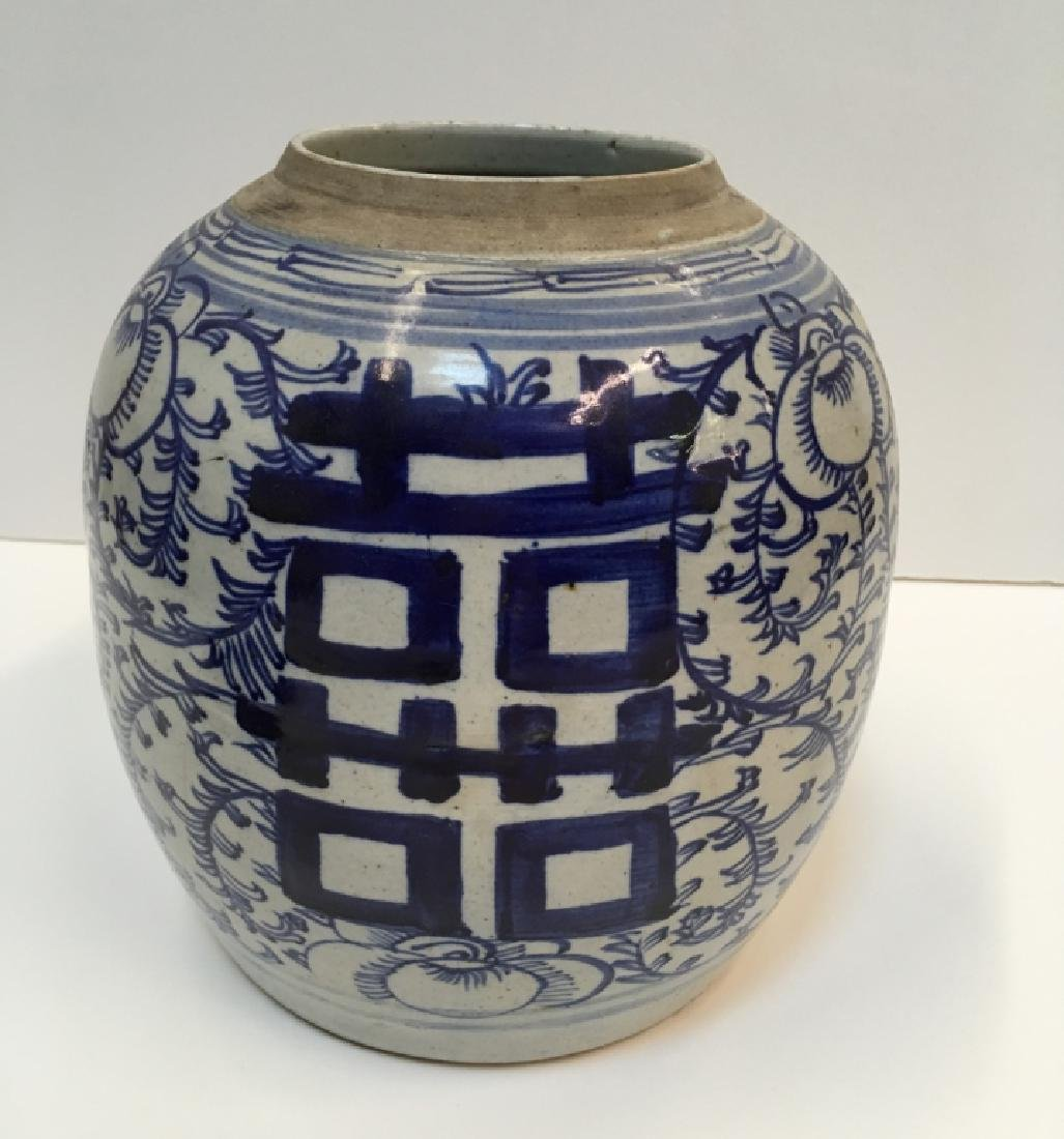 CHINESE 19TH C BLUE & WHITE GINGER JAR - 6