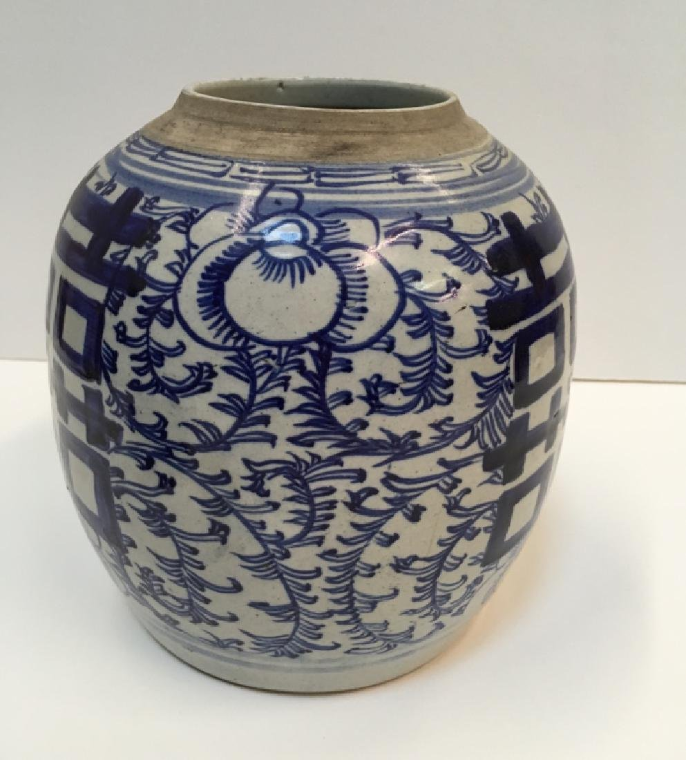 CHINESE 19TH C BLUE & WHITE GINGER JAR - 7