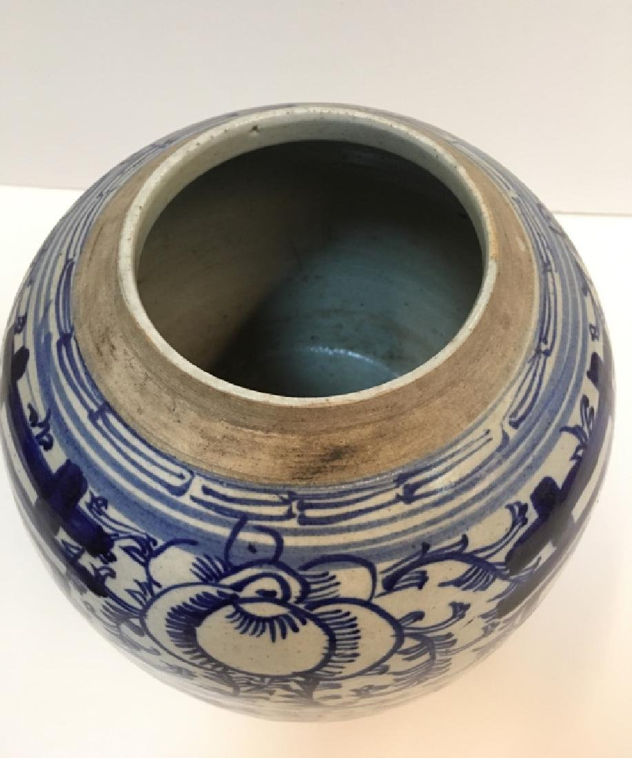 CHINESE 19TH C BLUE & WHITE GINGER JAR - 8
